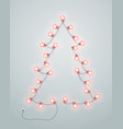 abstract christmas tree made from lighting garland vector image vector image