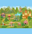 amusement park concept landscape map with flat vector image