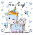 baby shower greeting card with cute unicorn boy vector image vector image
