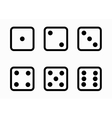 black line dice cubes icons set vector image vector image