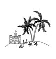 black silhouette of sandcastle and island with vector image vector image