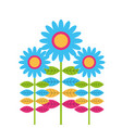 blue decorative flowers and multicolor leaves vector image
