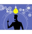 Businessman silhouette with bulb of idea vector image