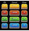 Cartoon colorful stone square buttons for game vector image vector image