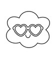 cloud with heart sunglasses black and white vector image