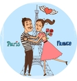 Couple in love with Eiffel Tower from Paris vector image vector image