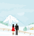 couple walk on a winter day vector image