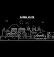 crete silhouette skyline greece - crete vector image vector image