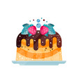 delicious pie topped with chocolate sauce cake vector image vector image