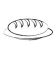 dish with bread icon vector image
