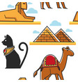 egypt seamless pattern pyramid and sphinx cat and vector image vector image