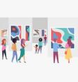 exhibition gallery visitors viewing trendy vector image