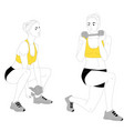 girl is doing sports exercises with dumbbells vector image