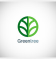 green tree round icon logo vector image vector image