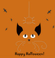 halloween holiday card with cat and hanging vector image vector image