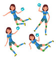 handball player female player in attack vector image vector image