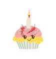happy cute delicious cupcake cartoon character vector image