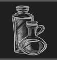 healthy olive oil in small glass jugs with cork vector image