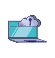 laptop computer with cloud computing and key vector image vector image