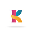 Letter K logo template Colorful ribbons sign vector image