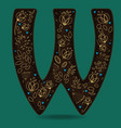 letter w with golden floral decor vector image vector image