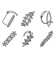 medical suture icons set outline style vector image vector image