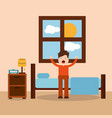 morning bedroom cartoon character waking up vector image vector image