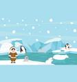 north pole animals cartoon scene vector image vector image