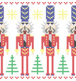 Nutcracker soldiers seamless Christmas Nordic vector image vector image