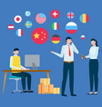 office workers international company working vector image