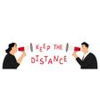 people with megaphones social distancing vector image