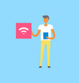 person male and wifi icon vector image vector image