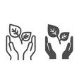 plant in palm line and glyph icon sprout and vector image