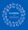 plumbing signs round design template thin line vector image vector image