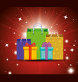 present gift box with ribbon decoration vector image vector image