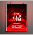 red merry christmas celebration flyer invitation vector image