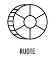 ruote pasta icon outline style vector image vector image