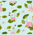 seamless pattern with lotus flowers and leaves vector image vector image