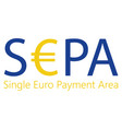 sepa - single euro payments area sign isolated on vector image vector image