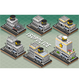 set isometric police stations vector image