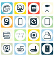 set of 16 computer hardware icons includes pc vector image vector image