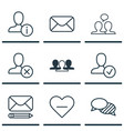 set of 9 social icons includes speaking ban vector image vector image