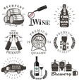 set wine and beer signs badges vector image