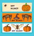 Sketch Halloween banners vector image
