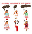 smoking cigarette harm health risk impact vector image vector image