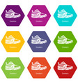 sneakers icons set 9 vector image