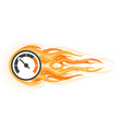 speed - flaming speedometer in motion quick vector image vector image