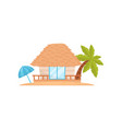 summer beach house with palm tree and umbrella vector image vector image