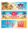 summer sale banners horizontal advertising vector image vector image
