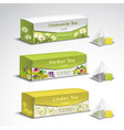 tea bags packaging realistic set vector image vector image